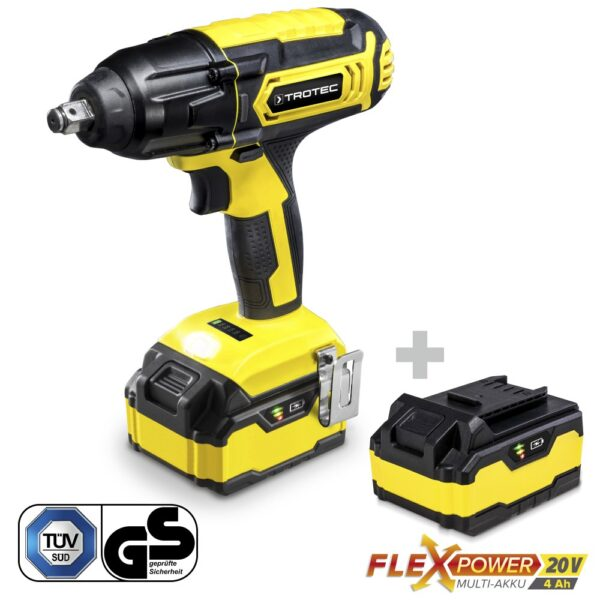 Cordless Rotary Impact Wrench PIWS 10-20V + Additional Battery Flexpower 20V 4,0 Ah