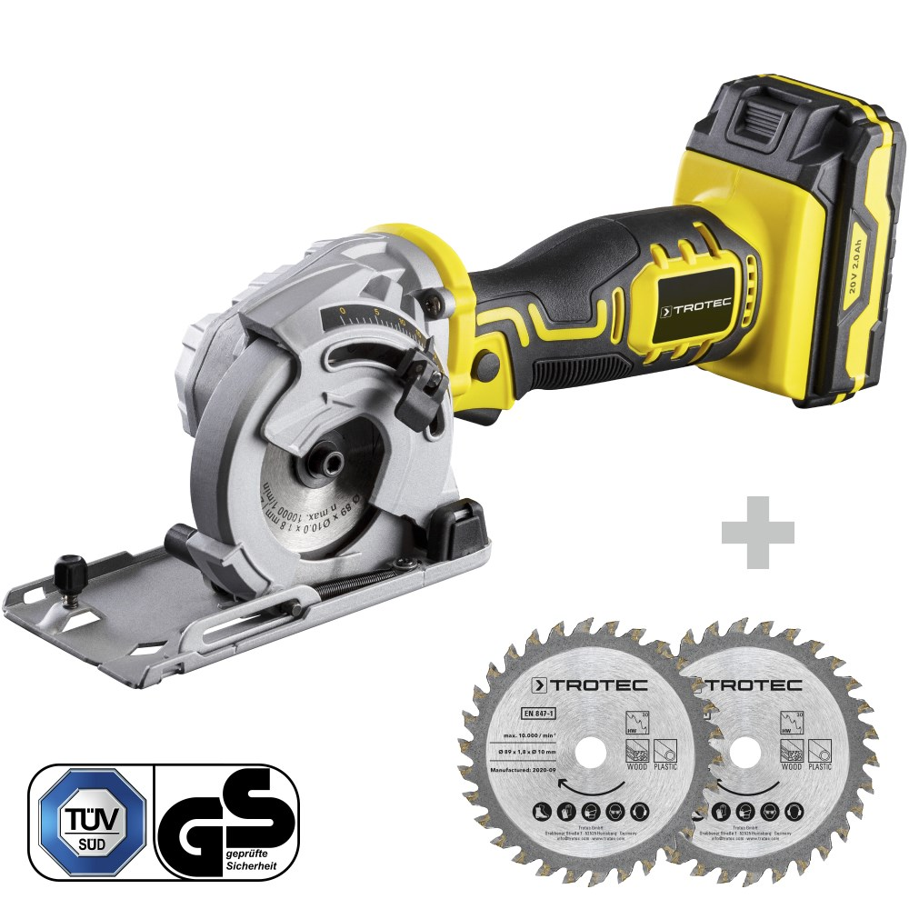 EcoIndustries Battery mini circular saw PCSS 05-20V + Plunge saw blade set 3 TCT (4)